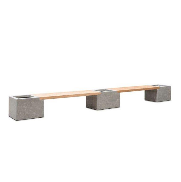 2 Teakholz-Beton-Bänkemit 3Pflanzgefäßen (Set)