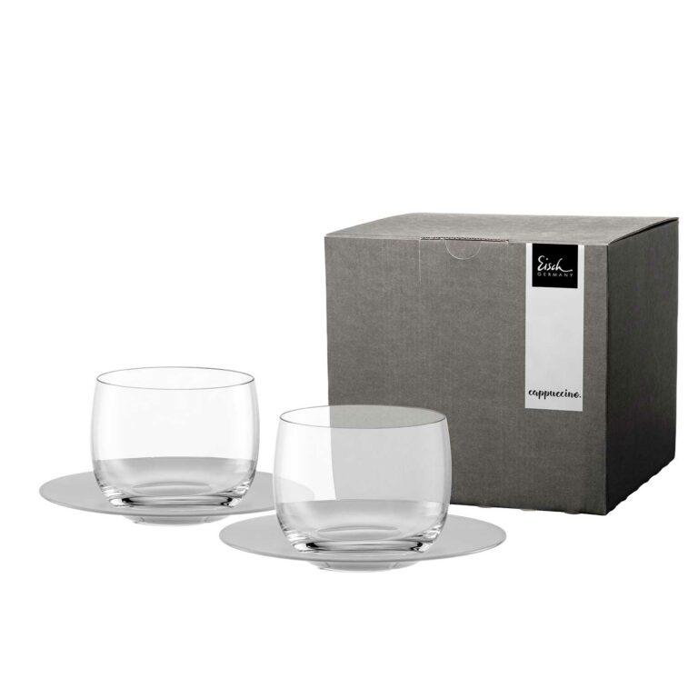 2 CAPPUCCINO-Gläser mit satinierten Untertassen