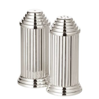 GRECA salt and pepper shakers, fluted, silver-plated