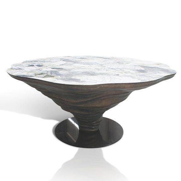 KENYA Eßtisch Ice Jade Marmor weiß