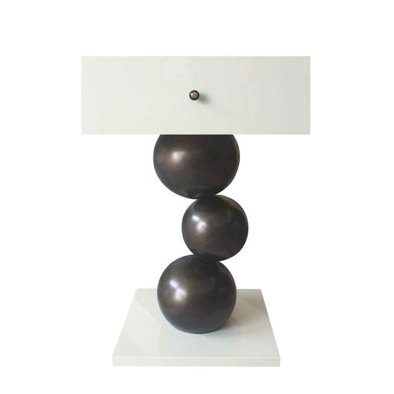 MUSEU Beistelltisch Hochglanz weiß / Bronze
