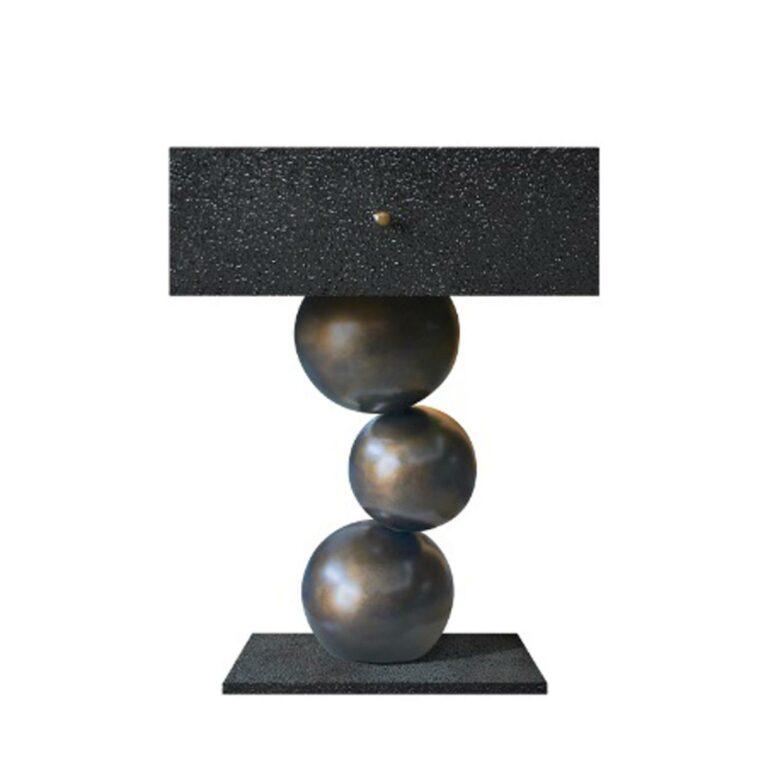 MUSEU Beistelltisch schwarze Textur / Messing