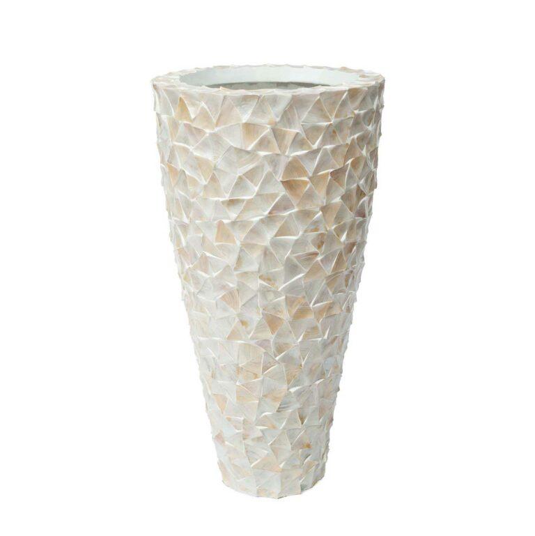 MOTHER OF PEARL floor vase white