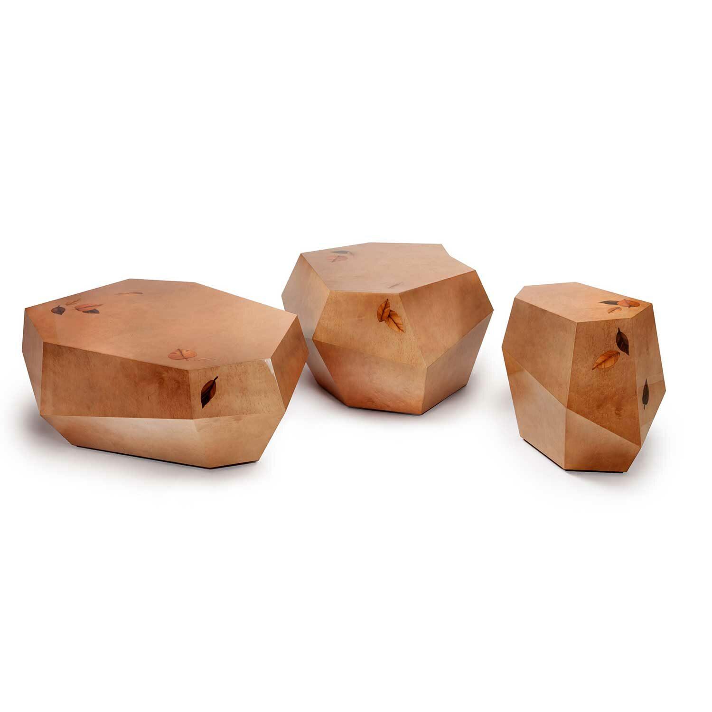 THREE ROCKS Couchtisch (Medium) Marketerie mit Edelholzintarsien