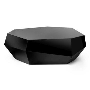 THREE ROCKS coffee table (low) black glass