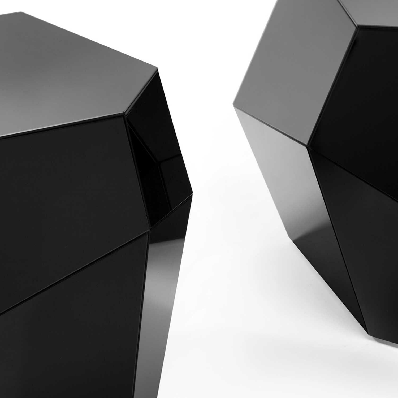 THREE ROCKS Couchtisch (Low) schwarzes Glas