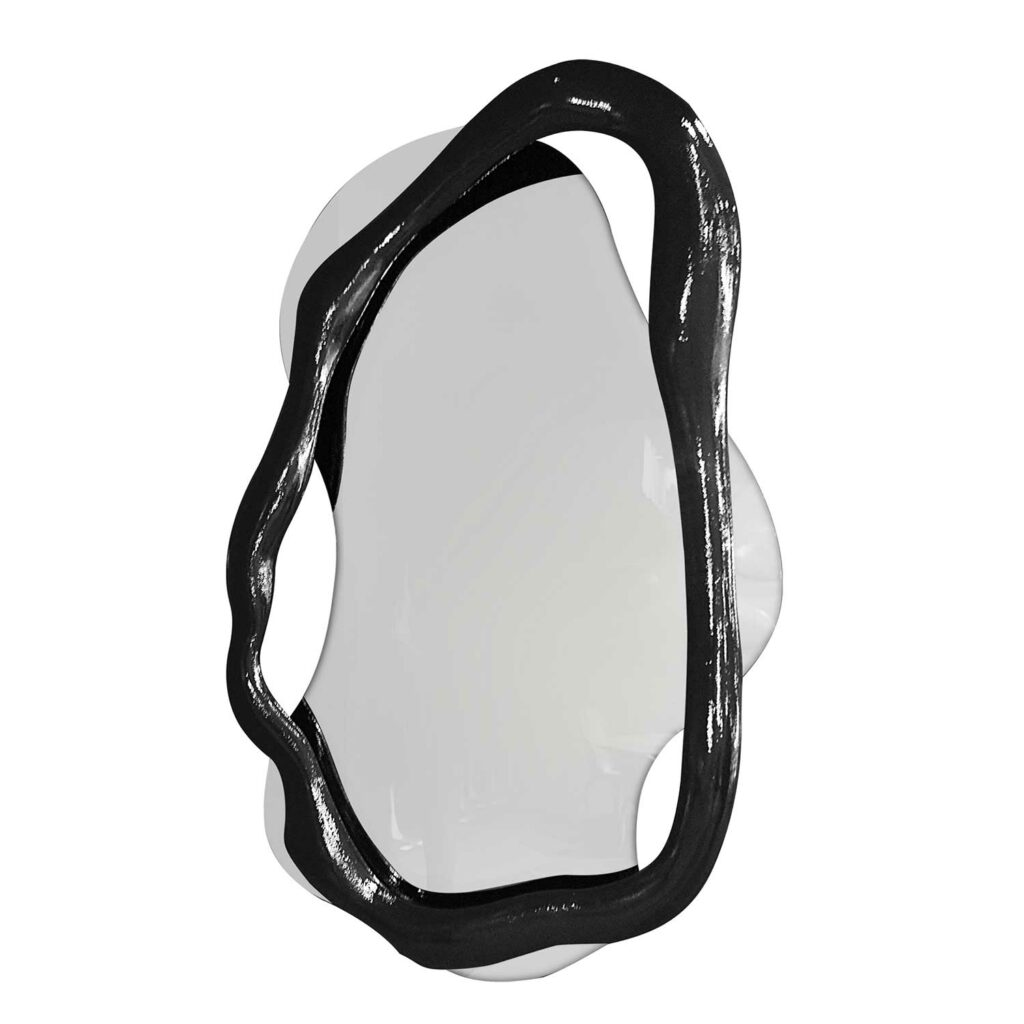TWISTED mirror L black high gloss